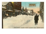 Fifth Street in Winter, Calumet, Michigan Prints