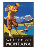 Golfer in Mountains, Whitefish, Montana Posters