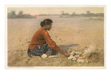 Navajo Woman Baking Bread Posters