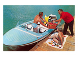 Loading Up Speedboat, Retro Print