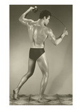 Muscle Man with Fencing Foil Prints