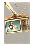 Gloved Arm Carrying Portable TV, Retro Poster