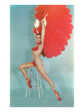Showgirl with Red Feathers, Retro Kunstdruck