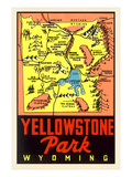 Yellowstone National Park Map, Montana Prints