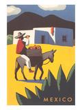 Motifs of Mexico, Burro, Peon, Adobe Giclee-tryk i høj kvalitet