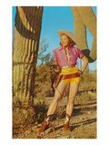 Cowgirl in Shorts by Saguaro, Retro Posters