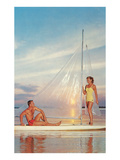 Couple on Sailboard with Plastic Sail Posters