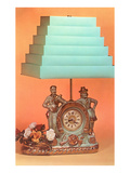 Clock and Lamp with Green Stepped Shade Print