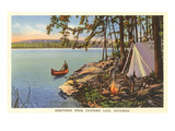 Canoe, Camping at Chippewa Lake, Michigan Poster
