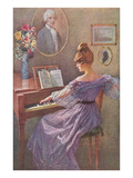 Old Fashioned Lady at Keyboard Prints