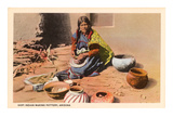 Hopi Indian Making Pottery, Arizona Posters
