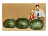Man and Child with Large Watermelons, Retro Prints