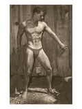 Muscle Man Posing by Wood Fence Prints