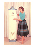 Woman Eying Water Heater, Retro Prints