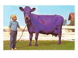 Girl with Purple Cow Posters