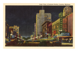 Night, Business District, Lansing, Michigan Prints