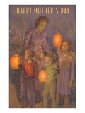 Happy Mothers Day, Children with Lanterns Prints