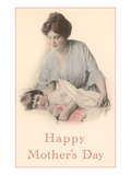 Happy Mothers Day, Mother with Sleeping Child Prints