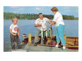 Family Fishing on Midwestern Lake, Retro Photo