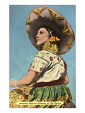 Mexican Senorita with Hat Prints