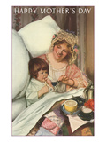Happy Mothers Day, Mother and Child Eating in Bed Prints