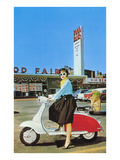Woman on Scooter, Retro Print