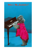 Poodle Playing Piano, Retro Prints