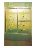 Angel Fish Shower Enclosure, Retro Print