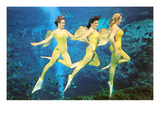 Three Green Mermaids, Retro Print