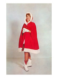Lady in Santa Claus Cape Posters