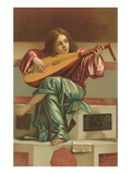 Painting of Child Playing Italian Lute Posters