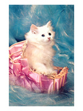 White Kitten in Basket, Retro Posters