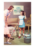 Mother and Daughter with Vacuum, Retro Poster