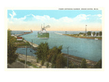 Ferry Entering Harbor, Grand Haven, Michigan Posters