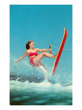 Woman Water Skier, Retro Prints