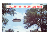 Flying Saucers are Real, Retro Poster