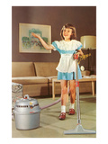 Little Girl with Vacuum, Retro Posters