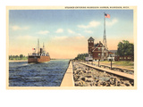 Steamer, Muskegon Harbor, Michigan Prints