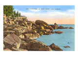 Rocks on North Shore, Lake Superior, Minnesota Kunstdruck