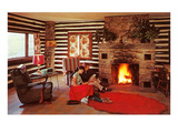 Couple at Rustic Cabin, Retro Prints