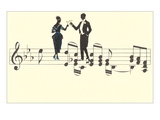 Couple Toasting on Musical Staff Prints