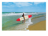 Surfer with Long Board, Retro Prints