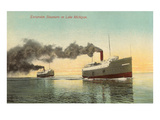 Excursion Steamers on Lake Michigan Prints