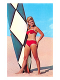 Gidget with Long Board, Retro Affiches