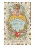 San Valentín, cupido con poema Pósters