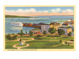 Harbor and City, Mackinac Island, Michigan Prints