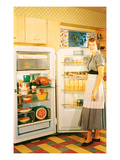 Slouching Lady with Open Fridge, Retro Prints