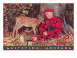 Sleeping Hunter with Fawn, Whitefish, Montana Prints