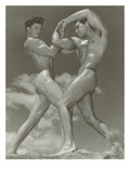 Two Naked Muscle Men Wrestling Affiches