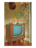 Potted Palm on TV Set Print
